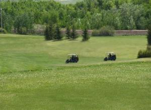 Looking across 6 and 2 fairways
