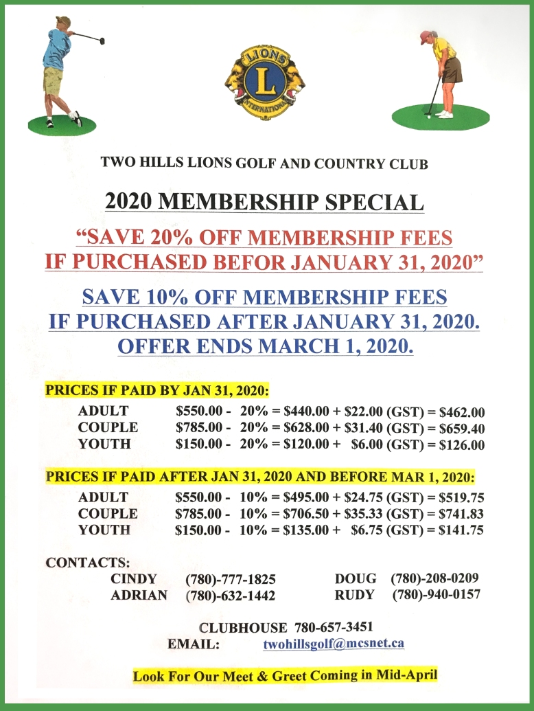 2020 Two Hills Golf Rate Special