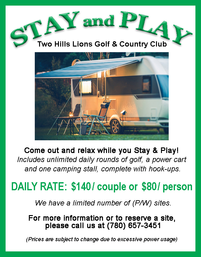 STAY and PLAY Two Hills Golf May 2021